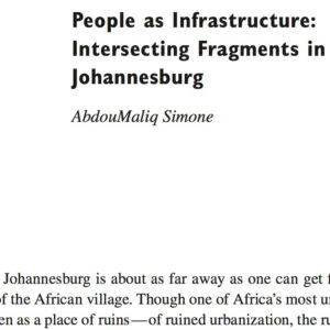 on Simone's 'people as infrastructure'