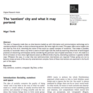 "Reading The ""sentient"" city and what it may portend"