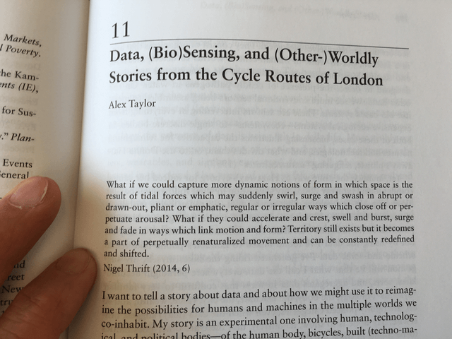 "Photo of Data and biosensing chapter in book ""Quantified""."