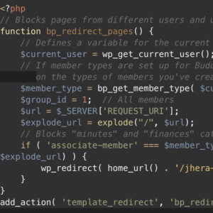 Screenshot of php code for blocking non-logged in members to a BuddyPress site.