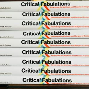 Photo of 10 copies of Critical Fabulations book